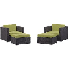 Convene 4 Piece Deep Seating Chair and Ottoman with Cushion