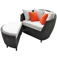Robin's Nest Outdoor Lounge Chair with Ottoman with Cushions