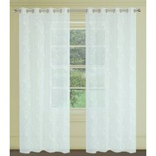 Farah Faux Embroidered Floral Sheer Grommet Curtain Panels (Set of 2)