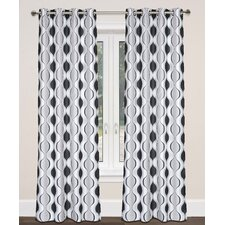 Zen Hourglass Faux Silk Grommet Curtain Panels (Set of 2)
