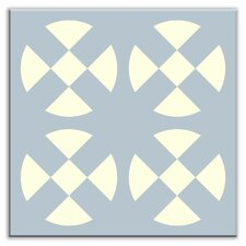 "Folksy Love 6"" x 6"" Satin Decorative Tile in Hot Plates Gray-Blue"