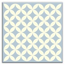 """Folksy Love 6"""" x 6"""" Glossy Decorative Tile in Needle Point Blue Gray"""