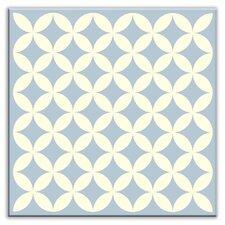 "Folksy Love 6"" x 6"" Satin Decorative Tile in Needle Point Blue Gray"