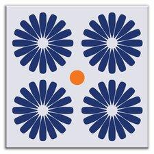 "Folksy Love 6"" x 6"" Satin Decorative Tile in Pinwheels Blue"