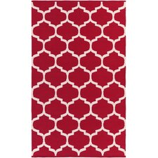 Vogue Red & Off White Geometric Everly Area Rug