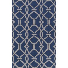 Marigold Serena Hand-Crafted Navy Blue/Gray Area Rug