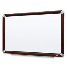 Dry-Erase Board, Melamine, Mahogany Frame