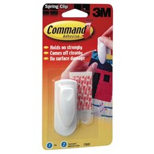 Spring Clip, w/ Command Adhesive, 1 Clip/2 Strips, White (Set of 2)