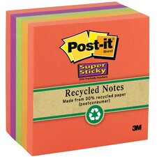 "390 Sheet 3"" x 3"" Post-it Super Sticky Recycled Note"