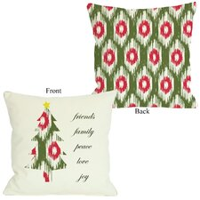 Friends Family Peace Ikat Christmas Tree Reversible Throw Pillow