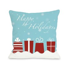 Happy Holidays Presents Throw Pillow