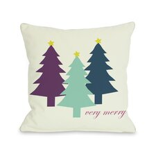 Very Merry Christmas Trees Reversible Throw Pillow