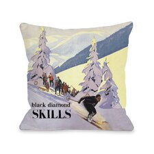 Diamond Skills Vintage Ski Throw Pillow