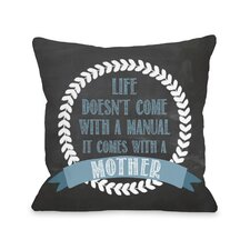Manual Mother Chalkboard Throw Pillow