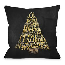 Merry Christmas Tree Metallic Chalkboard Throw Pillow