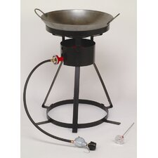 Bolt Together Outdoor Cooker with Steel Wok and 2 Wooden Utensils