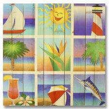 Wile E. Wood Summer Beach Squares Wall Art