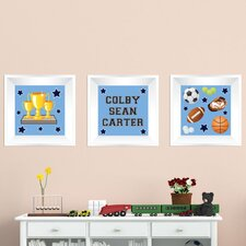 3 Piece Sports Picture Frame Wall Decal
