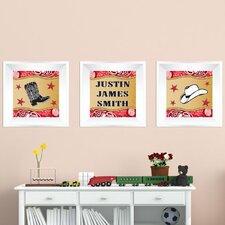 3 Piece Cowboy Picture Frame Wall Decal