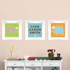 3 Piece Elephant Picture Frame Wall Decal
