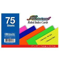 Ruled Fluorescent Colored Index Card (75 Pack)