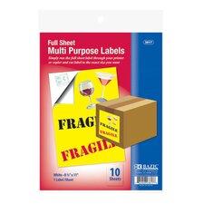 Full Sheet White Multipurpose Labels (Set of 10)