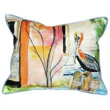 Coastal Pelican Indoor/Outdoor Throw Pillow