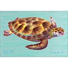 Coastal Green Sea Turtle Outdoor Wall Hanging