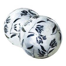 Capiz Floral Decorative Ball Sculpture (Set of 2)