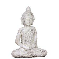Stoneware Meditating Buddha in Dhyana Mudra Matte White