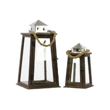 Wood Square Lantern with Chrome Silver Metal Top, Rope Hanger and Glass Windows Set of Two Stained Wood Finish