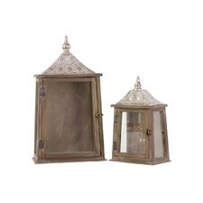 Wood Rectangular Lantern with Pierced Silver Metal Top, Ring Hanger and Glass Windows Set of Two Weathered Wood Finish
