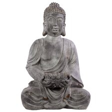 Fiberstone Meditating Buddha in Dhyana Mudra with a Bowl Distressed Concrete Gray