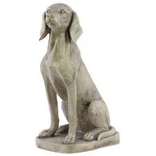 Fiberstone Sitting American Foxhound Dog Antique White