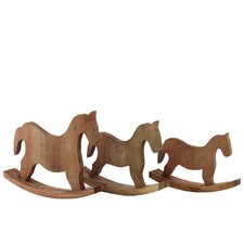 Wood Rocking Horse Set of Three Natural Wood Finish
