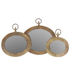 Wooden Mirror Set of Three Natural Finish (Set of 3)