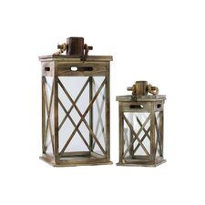 Wooden Lanterns with Rope Hanger Set of Two Natural Wood Finish