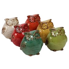 Ceramic Owl Assorted of Six Assorted Color (Beige, Red, Dark Sea Green, Red Orange, Amber and Olive)