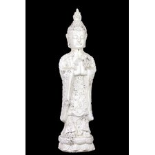 Stoneware Standing Buddha in Anjali Mudra Matte White