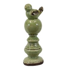 Ceramic Bird on Pedestal Green Antique Finish