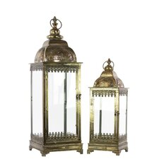 Metal Lantern with Ring Hanger, Glass Sides and Square Base Set of Two Pierced Bronze