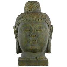Fiberstone Buddha Head with Rounded Ushnisha LG Dark Olive Green