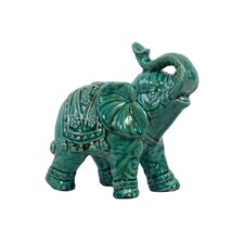 Ceramic Trumpeting Standing Elephant Gloss White