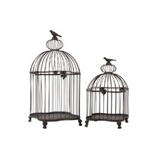Metal Bird Cage with Bird Figurine Top Set of Two Dark Gray