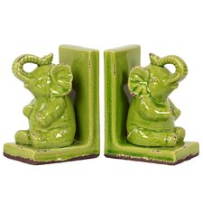 Stoneware Elephant Bookend Set of Two Yellow Green (Set of 2)