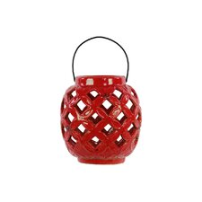 Ceramic Lantern with Metal Handle Gloss White