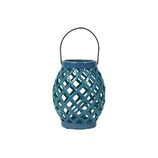 Ceramic Lantern with Handle Gloss Steel Blue