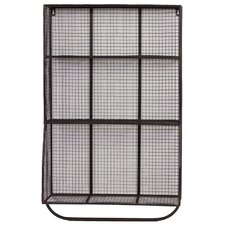 9 Hole Metal Wall Cubby with Hanger Bar