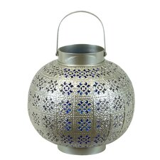 Metal Lantern with Handle and Votive Blue Glass Pierced Silver