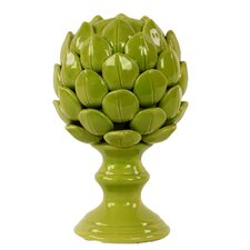 Porcelain Artichoke on a Pedestal SM Gloss Sculpture